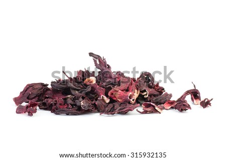 Herbal tea (karkade) isolated on white background - stock photo