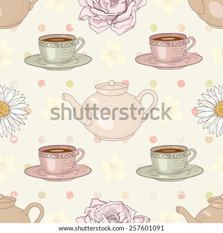 Herbal tea rose and chamomile with cups and teapots on polka dot background seamless pattern - stock photo