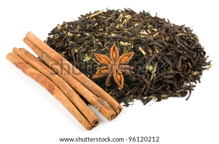 Herbal tea with cinnamon isolated on white background - stock photo