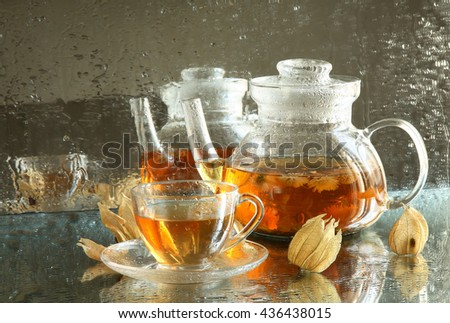 herbal tea with fennel in a glass teapot