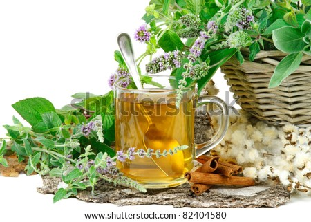 Herbal tea with mentha and sage - stock photo