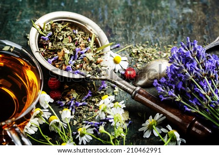 Herbal tea with wild flowers and berry on wooden background - bio food, health and diet concept - stock photo