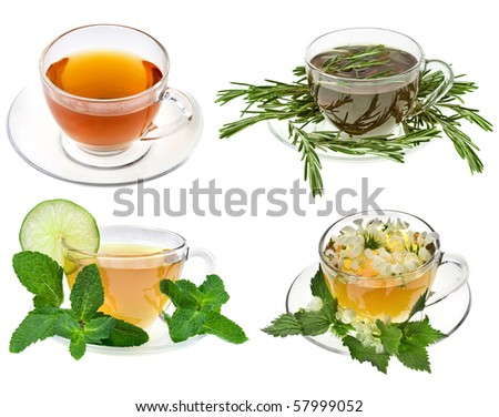 Herbal teas. Collection isolated on white background - stock photo