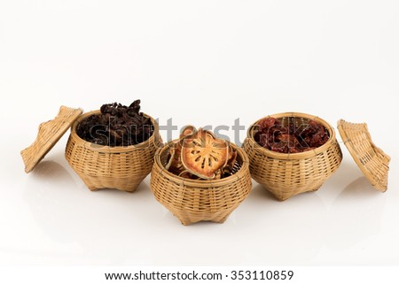 """Herbal three companions """"Okra - jujube -Aegle marmelos"""". The properties have a diuretic effect, gallstones, kidney and fat in the blood. - stock photo"""