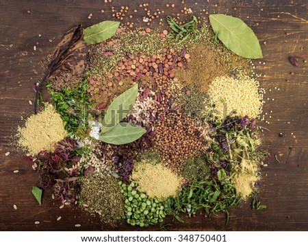 Herbs and spices.Aromatic ingredients and natural food additives.Backgroun d - stock photo