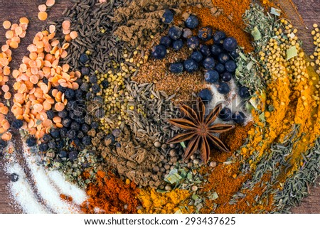 Herbs and spices.Aromatic ingredients and natural food additives.Background - stock photo