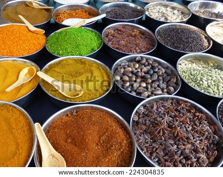 Herbs and spices at the market in Palolem, Goa, India - stock photo