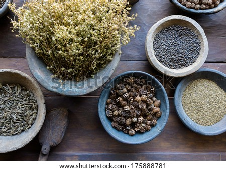 Herbs and spices in bowls used in ayurvedic medicine - stock photo