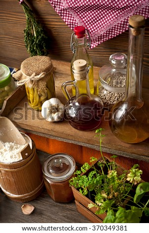 herbs and spices in the old kitchen - stock photo