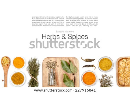 herbs and spices on white background - stock photo