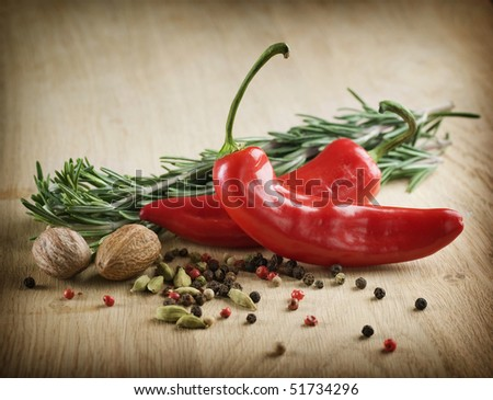 Herbs and Spices over wooden background - stock photo
