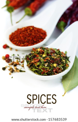 Herbs and spices selection, close up (with easy removable sample text) - stock photo
