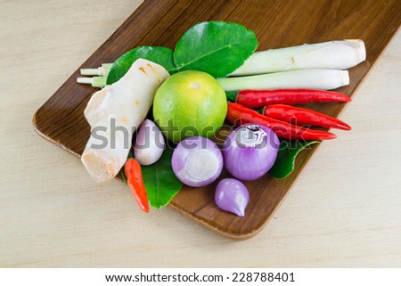 Herbs and spices set to make Tom Yum  Thai spicy soup - stock photo