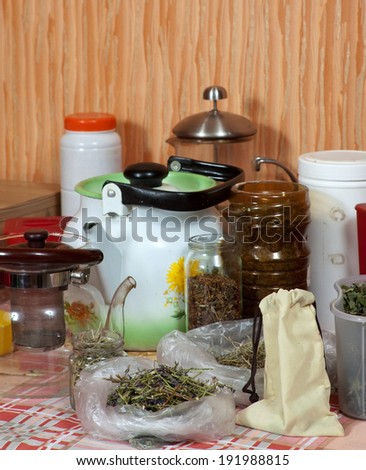 herbs at home kitchen ready for brews - stock photo