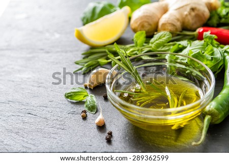 Herbs background - olive oil, chili, lemon, mint, parsley, basil ...