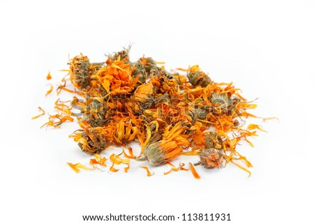 Herbs. Dried calendula or pot marigold flowers isolated on white background. - stock photo