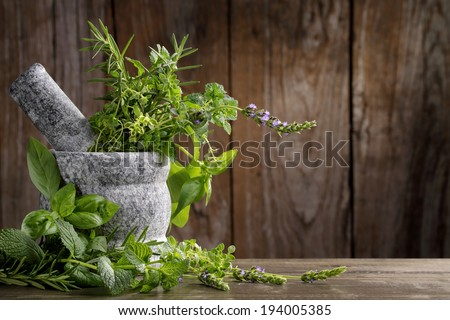 herbs in mortar on wooden background - stock photo