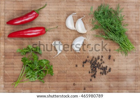 Herbs, pepper, and oil stock picture