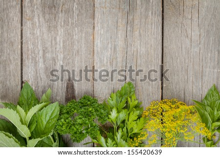 Herbs selection. Aromatic ingredients on wood table with copyspace - stock photo