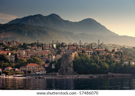 Herceg Novi - coastal town in Montenegro located at the entrance to the Bay of Kotor - stock photo