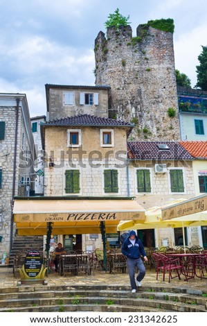 HERCEG NOVI, MONTENEGRO - JULY 13, 2014: The old town hides the medieval citadel and the ruins of the ramparts, on July 13 in Herceg Novi.
