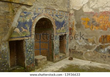 Herculanuem domestic interior with mosaics - stock photo