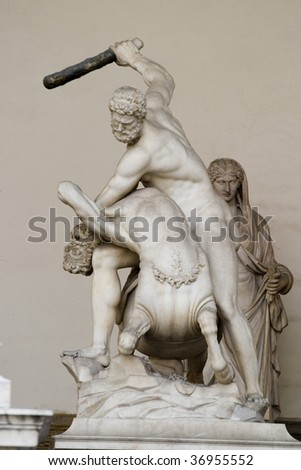 Hercules fighting with centaur Nessus, a mythological tale. - stock photo