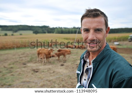Herdsman standing in front of cattle in country field - stock photo