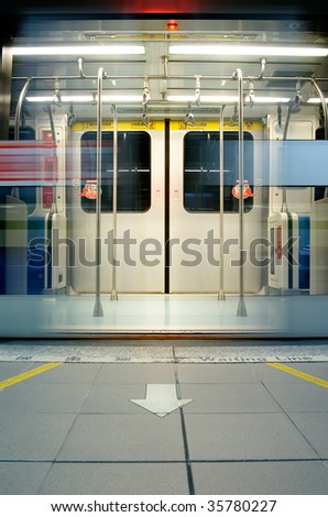Here are the doors opened in metro station. - stock photo
