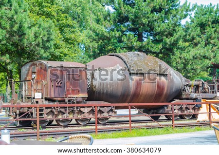 Here the freight cars, tank cars, torpedo car or ladle car called, was intended for the transport of liquid iron. - stock photo