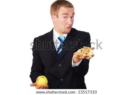 Here you can see a businessman, who does not know how to decide between healthy nutrition (apple) and fast food (pizza).