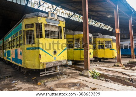 Heritage and historic trams of Kolkata standing at a depot before departure - stock photo
