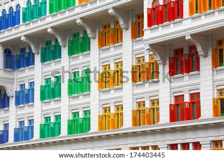 Heritage colourful Windows in Singapore - stock photo