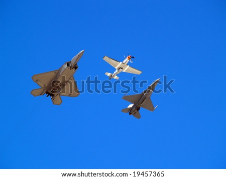 Heritage formation flight of old and modern military planes - stock photo