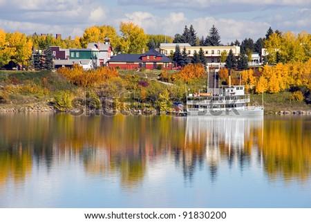 Heritage Park & Glenmore Reservoir, Calgary, Alberta, Canada. - stock photo