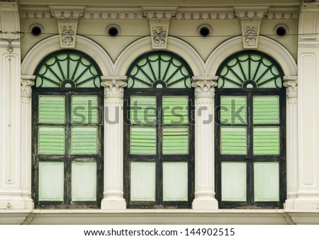 Heritage Windows, George Town, Penang, Malaysia - stock photo