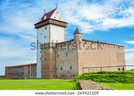 Hermann castle of the Order of Teutonic Knights. Narva, Estonia, Baltic States, Europe - stock photo