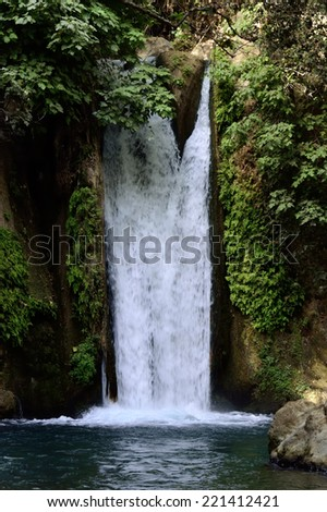 Hermon stream in Banias National park on the North of Israel. - stock photo