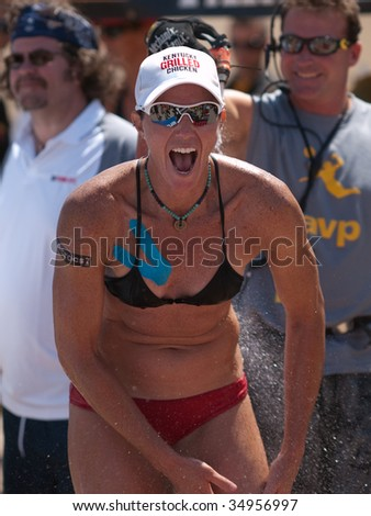 HERMOSA BEACH, CA. - AUGUST 8: Elaine Youngs after winning the womens final of the AVP Hermosa Beach Open. August 8, 2009 in Hermosa Beach.