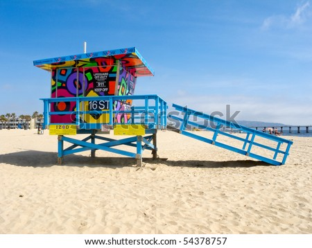HERMOSA BEACH, CA - JUNE 1: The Portraits of Hope project transformed lifeguard towers along the LA Coastline by painting them with colorful artwork June 1, 2010 in Hermosa Beach, CA. - stock photo