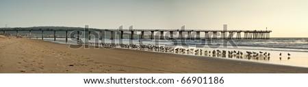 Hermosa Beach Pier Panoramic - stock photo
