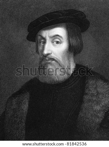Hernan Cortes (1485-1547). Engraved by W.Holl and published in The Gallery Of Portraits With Memoirs encyclopedia, United Kingdom, 1837. - stock photo