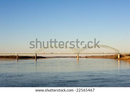Hernando deSoto bridge over Missippissi river in Memphis, TN - stock photo