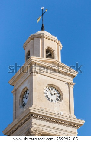 Herne Bay Clock Tower was built in 1837 making it the first purpose-built clock tower of its type in the world. It remains an iconic structure, standing proud on Herne Bay seafront. - stock photo