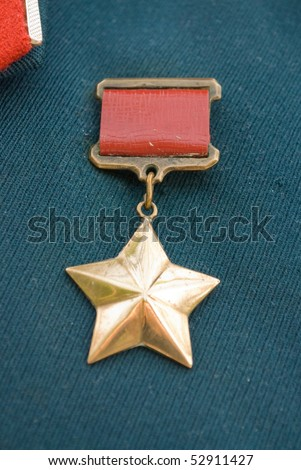 Hero of the Soviet Union gold star award - stock photo