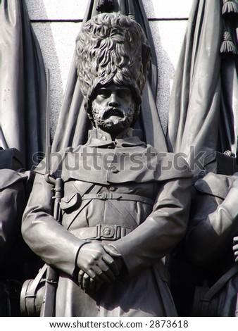 Hero of war statue on memorial in London - stock photo