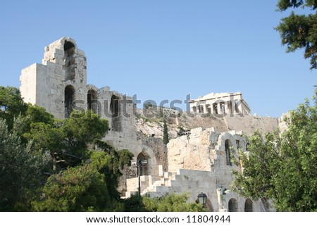 herodion theater and parthenon athens greece landmarks
