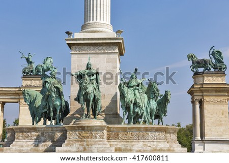 Heroes Square and the Millennium Monument dedicated to the hungarian kings. Budapest, Hungary. - stock photo