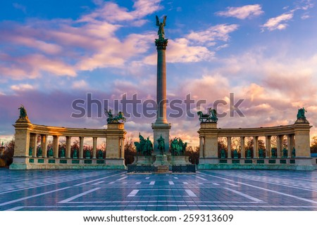 Heroes Square Budapest in morning. The photo was made after a rain, the reflection is real. - stock photo