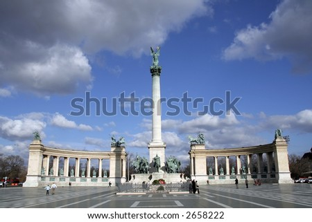 Heroes' Square (Hosök tere) in Hungarian capital of Budapest - stock photo